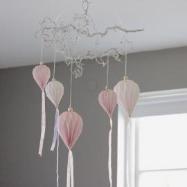 Papirballon med tygremser 60 cm - lyserosa , hemmetshjarta.dk
