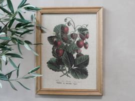 Billede med jordbærmotiv & træramme H43 / L33 cm , hemmetshjarta.dk