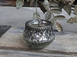 Fyrfadsstage m. dekorkant H6/Ø7,5 cm antique sølv , hemmetshjarta.dk