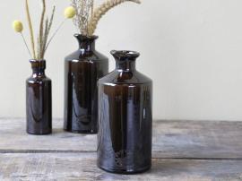 Gl. fransk Flaske H19/Ø9 cm antique mocca , hemmetshjarta.dk