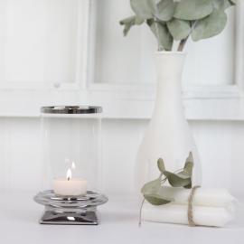 Lanterne med glas Lyx sølv 13 cm , hemmetshjarta.dk