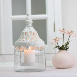 Lanterne/vase med låg 21 cm - antik hvid , hemmetshjarta.dk