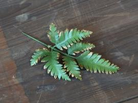 Kunstig Blad m. glimmer H18/L9 cm grøn , hemmetshjarta.dk