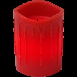 Batteridrevet Bloklys LED Drip Rød 7,8x10cm , hemmetshjarta.dk
