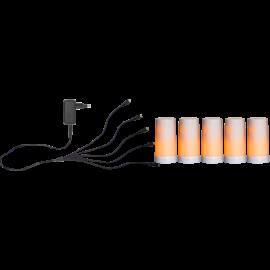 Batteridrevet Bloklys LED Diner Hvid Start 5st 13cm , hemmetshjarta.dk