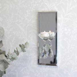 Lysholder Væg med spejl 25,5 cm , hemmetshjarta.dk
