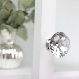 Knob Diamant med flad top 6x4 cm - glas , hemmetshjarta.dk