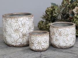 Colmar Skjuler m. blomster Keramik H7/Ø8 cm antique creme 1 st , hemmetshjarta.dk