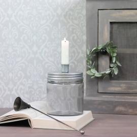 Lysestage med opbevaring 15 cm - grå , hemmetshjarta.dk