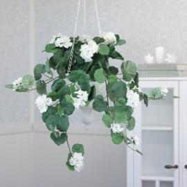 Kunstig Hænge Pelargonie 50 cm , hemmetshjarta.dk