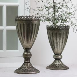 krukke høy med Blondekant 27 cm - antik sølv , hemmetshjarta.dk