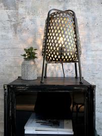 Lampe i flet H44,5/Ø25 cm antique kul , hemmetshjarta.dk