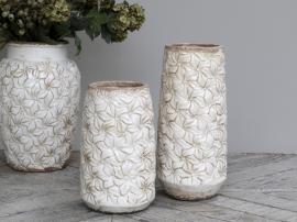 Colmar Vase m. blomster Keramik H33/Ø15 cm antique creme 1 st , hemmetshjarta.dk