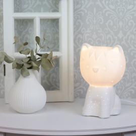 Lampe porcelæn kat 21 cm - hvid , hemmetshjarta.dk