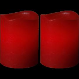 Batteridrevet Bloklys LED May Rød 5x6cm 2-pack , hemmetshjarta.dk