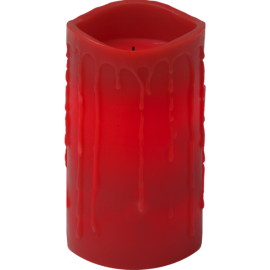 Batteridrevet Bloklys LED Drip Rød 7,5x15cm , hemmetshjarta.dk