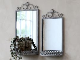 Spejl med hylde H40.5 / L20 / W11 cm antik zink , hemmetshjarta.dk