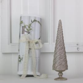 Juletræ med glitter 26 cm - champagne , hemmetshjarta.dk