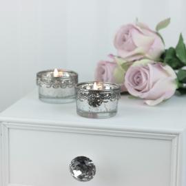 Fyrfadsstage m. sølv dekor lav , hemmetshjarta.dk
