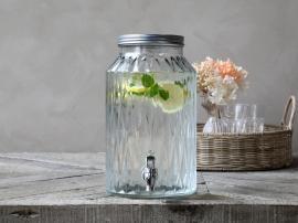 Dispenser i glas m. taphane 5,5 liter H30/Ø18 cm cm klar , hemmetshjarta.dk