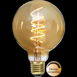 LED-Pære E27 Decoled Spiral Amber G95 Dim , hemmetshjarta.dk