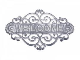"""Skilt """"Welcome"""" H20/L28/B5 cm antique grå , hemmetshjarta.dk"""