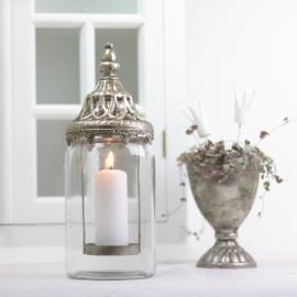 Lanterne/vase med låg 28 cm - antik sølv , hemmetshjarta.dk