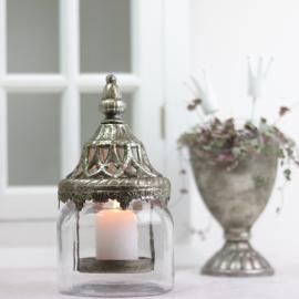 Lanterne/vase med låg 21 cm - antik sølv , hemmetshjarta.dk