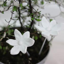 Blomst / stick 2-pack - antik hvid , hemmetshjarta.dk