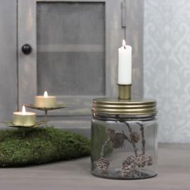 Lysestage med opbevaring 15 cm - antik messing , hemmetshjarta.dk