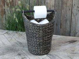 Kurv med toiletpapirholder H40 / Ø30 cm antik sort , hemmetshjarta.dk