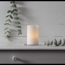 Batteridrevet Bloklys LED Sharp Hvid 7,5x12,5cm , hemmetshjarta.dk