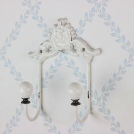 Tøjbøjle med porcelænsknop & dekor H12 / L12 / W6 cm antik creme , hemmetshjarta.dk