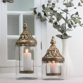 Lanterne/vase med låg 28 cm - guld brun , hemmetshjarta.dk