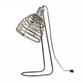 Lampe med rottingskærm H56 / L22 / W24 cm anticarbon , hemmetshjarta.dk