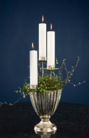 Fyrfadsstage dekoration/krans - Antik sølv 4-pack , hemmetshjarta.dk