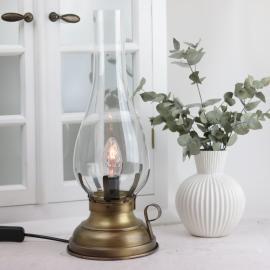 Lampe El 42 cm - Antik messing , hemmetshjarta.dk