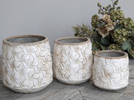 Colmar Skjuler m. blomster Keramik H12/Ø12 cm antique creme 1 st , hemmetshjarta.dk