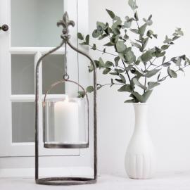 Lanterne/vase på stativ 40 cm - antik sølv , hemmetshjarta.dk