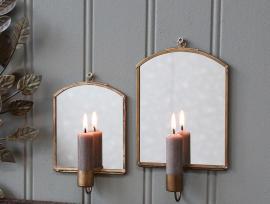 Lysestage til væg m. spejl H19/L12/B3 cm antique messing 1 st , hemmetshjarta.dk