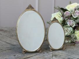 Spejl m. dekor oval H19/L10/B0,5 cm antique messing 1 st , hemmetshjarta.dk