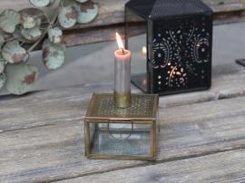 Lysestage med opbevaring 9 cm - antik messing , hemmetshjarta.dk
