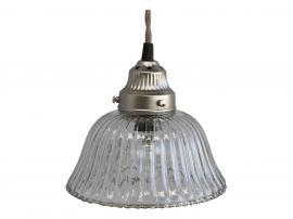 Uge 40 Lampe m. riller glas håndlavet H17/Ø17 cm klar , hemmetshjarta.dk