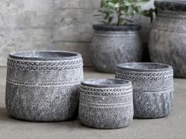 Cholet Skjuler m. mønster Cement H10,5/Ø13 cm antique sort 1 st , hemmetshjarta.dk