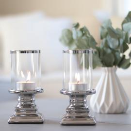 Lanterne 2-pack med glas Lyx - sølv , hemmetshjarta.dk