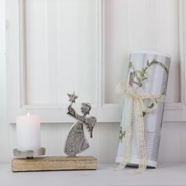 Stående Engel med Lysholder - sølv , hemmetshjarta.dk