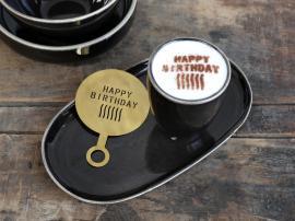 Uge 40 Kaffestencil Happy Birthday L12,5/B8,5 cm messing , hemmetshjarta.dk