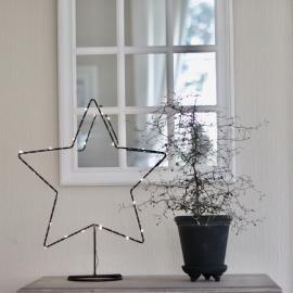 Batteri LED Stjerne med lyskæde , hemmetshjarta.dk