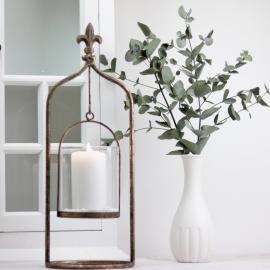 Lanterne/vase på stativ 40 cm - guld brun , hemmetshjarta.dk