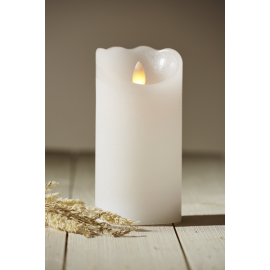 Batteridrevet Bloklys LED Glow Hvid 7,5x15cm , hemmetshjarta.dk